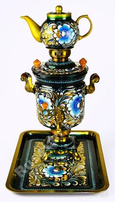 Russian hand painted electric samovar set $399.99
