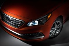 The 2015 Hyundai Sonata's sportier exterior updates include narrowed headlamps, wider grille and sloping coupelike roofline. #Hyundai #2015Sonata