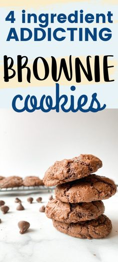These 4 ingredient brownie cookies are absolutely addicting! One bag of brownie mix, oil, eggs and flour is all you need to make them. They're ooey and gooey in the center with an amazing crusty inside. The perfect chocolate cookie for any occasion! Delicious Chocolate, Vegetarian Chocolate, No Bake Desserts, Dessert Recipes, Gooey Brownies, Brownie Cookies, 4 Ingredients, Rice Krispies, Cravings