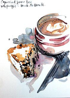 Flickr Dessert Illustration, Coffee Illustration, Watercolor Illustration, Watercolor Food, Watercolor Artists, Watercolor Paintings, Watercolors, Food Sketch, Tree Sketches