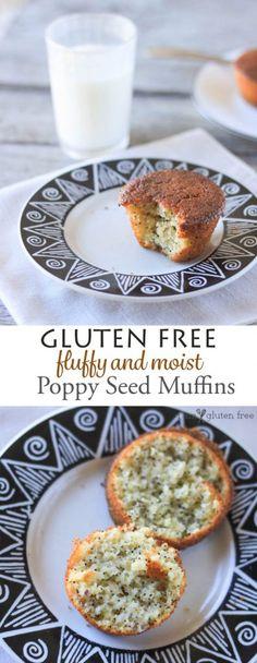 Gluten free fluffy and moist poppyseed muffins