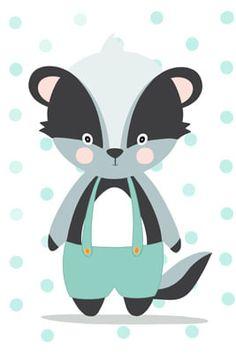 Jungle Animals, Animals For Kids, Cute Animals, Forest Animals, Easy Disney Drawings, Easy Drawings, Baby Badger, Animal Cushions, Pet Rocks