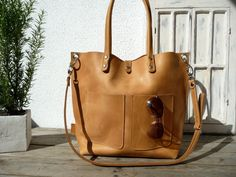 Large leather tote bag Leather tote Tote bag by SanumiLeatherGoods