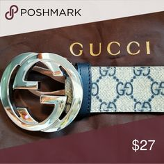 ee58f99254c 😍Authentic Gucci Belt Blue   Tan Monogram Print 😍Authentic Gucci Belt Blue    Tan