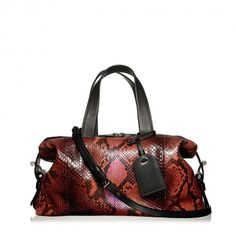 Mini Atlas handbag in red and black python.