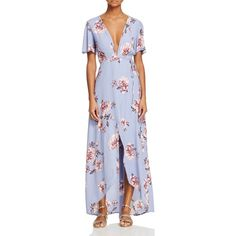 Astr Selma Floral Wrap Maxi Dress (7.495 RUB) ❤ liked on Polyvore featuring dresses, periwinkle floral, wrap maxi dress, floral wrap dress, floral maxi dress, floral dresses and flower print dress