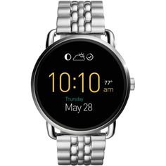 Fossil Women's Digital Q Wander Stainless Steel Bracelet Smart Watch... ($295) ❤ liked on Polyvore featuring jewelry, watches, silver, digital wristwatch, stainless steel jewelry, stainless steel jewellery, stainless steel digital watches and digital watches