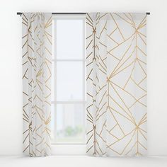 Geometric Gold Pattern With White Shimmer Window Curtains Gold And White Curtains, Purple Curtains, Striped Curtains, Floral Curtains, Colorful Curtains, Layered Curtains, Short Curtains, Velvet Curtains, Bohemian Curtains
