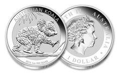 Koala Coins | 2016 Australia 1-oz Silver Koala Uncirculated | Each 2016 Koala Silver Dollar is struck in 99.9% fine silver and features a koala walking along a eucalyptus tree branch.