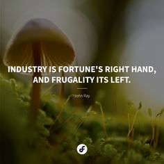 Industry is fortune's right hand, and frugality its left. Frugal, Quote Of The Day, Quotes, Movie Posters, Quotations, Film Poster, Popcorn Posters, Thrifting, Quote