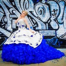 High Quality 2017 Royal Blue Embroidery Button quinceanera dress Royal Train Lace Up Ruffles Puffy Quinceanera  Ball Gown 265.00