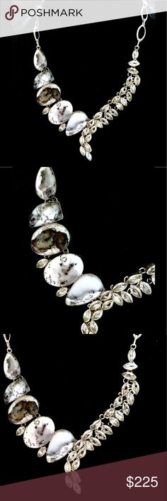 Dendrite Opal White Topaz  statement necklace 925 Elegantly designed Dendrite Opal statement necklace embellished with sparkling white Topaz 925 stamped Adjustable toggle clasp! Unique & beautiful 🌹 Handcrafted Jewelry Necklaces