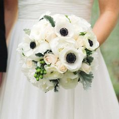 black and white wedding flower bouquet, bridal bouquet, wedding flowers, add pic source on comment and we will update it. www.myfloweraffair.com can create this beautiful wedding flower look.