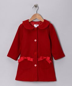 Red Bow Wool-Blend Peacoat - Toddler & Girls