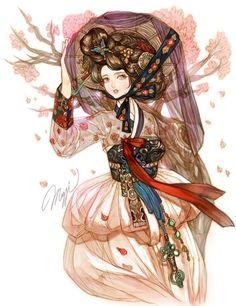 담아감 Cute Illustration, Character Illustration, Anime Fantasy, Fantasy Art, Character Art, Character Design, Korean Painting, China Art, Korean Art