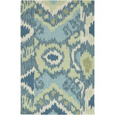 Hand-hooked Brentwood rug from Surya. Cool colors & a lively pattern.