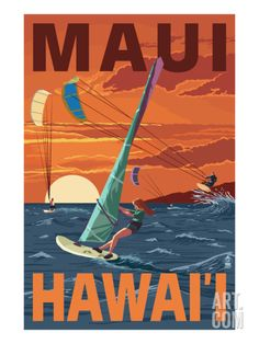 Maui, Hawaii - Windsurfers Scene at Sunset Print by Lantern Press at eu.art.com