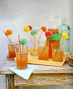 Raffia Swizzle Sticks // Super cute cocktail drink toppers!  #designsponge #dssummerparty