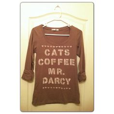 Cats Coffee Mr. Darcy shirt on Etsy, $15