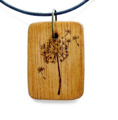 DANDELION Wood Pendant Necklace Pyrography Fire burn Wearable Art Dandelion Pendant In the Garden Flower  MTO