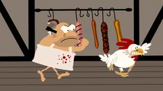 The chosen bird was hard to catch, the butcher chased it with an axe.