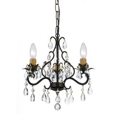 Add elegant European style to your living room or dining room with this three-light crystal mini chandelier. The bronze finish gives this indoor light fixture an old-world look, while the hand-cut clear crystals sparkle in the light.