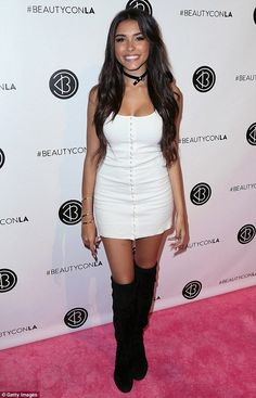 Pretty: Singer Madison Beer, donned a white minidress with black slouched boots Maddison Beer, Beautycon, Botas Sexy, Christina Milian, Le Jolie, Renaissance Clothing, Hot High Heels, Celebs, Celebrities