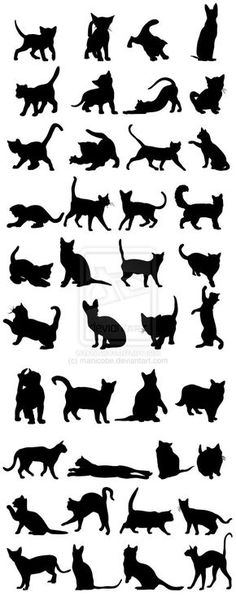 Cats Silhouettes Big Pack by manicobe.deviantart.com