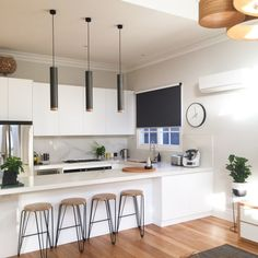 Real reno: the contemporary facelift of an Edwardian weatherboard - The Interiors Addict Apartment Kitchen, Home Decor Kitchen, Kitchen Interior, New Kitchen, Home Kitchens, Kitchen Pantry, Kitchen Furniture, Kitchen Layout, Kitchen Design