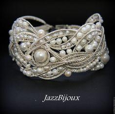 """Купить Браслет с жемчугом """"120 жемчужин"""" - браслет, плетеный браслет, подарок девушке, крупный браслет"""