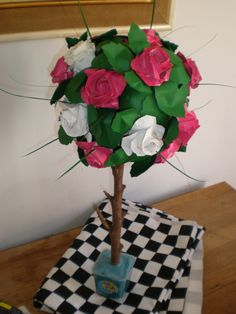origami rose tree for alice in wonderland themed party