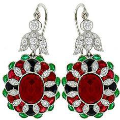 Ruby Emerald Onyx Diamond Gold Dangling Earrings