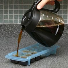 Instead of using ice in your coffee to make iced coffee, use ice cubes made from coffee so it doesn't get watered down. The more caffeine the better I say!