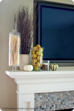 Need a tall skinny glass jar for mantle decor. Put wheat or small indian corn i. - Need a tall skinny glass jar for mantle decor. Put wheat or small indian corn in it. Home Living Room, Living Room Decor, Diy Mantel, Mantle Ideas, Diy Home, Home Decor, Interior Decorating, Interior Design, Mantle Decorating
