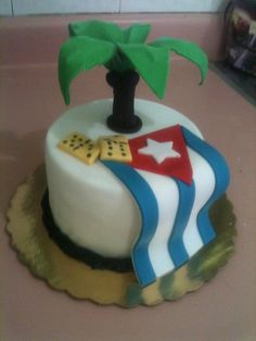 Palm And Cuban Flag Cake By Dulce Galeria