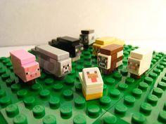 Lego Minecraft Custom Micro Animals  Pig Sheep Wolf by TinyBricks