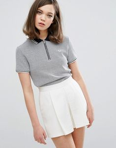 Buy Fred Perry Authentic Texture Zip Neck Collar Shirt at ASOS. Get the latest trends with ASOS now. Sporty Outfits, Classy Outfits, New Outfits, Cute Outfits, Fashion Outfits, Polo Shirt Design, Polo Design, Style Casual, Preppy Style