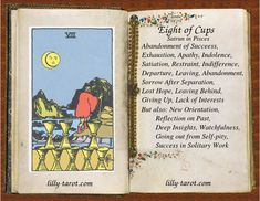 Eight of Cups is feeling drained after so much expectations, indulgence and involvoing. Eight of Cups denotes need for introspection and reflection on the past. Eight Of Cups, Love Canvas Painting, Divine Tarot, Cards On The Table, Tarot Cards For Beginners, Sanskrit Words, Baby Witch, Tarot Card Meanings, Affirmation Cards