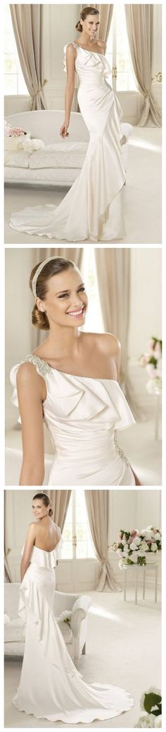 Charming One-shoulder Wedding Dress with Ruffled Details.  http://www.weddingcountdown.ca/destination-wedding/10-charming-one-shoulder-wedding-dress-with-ruffled-details.html