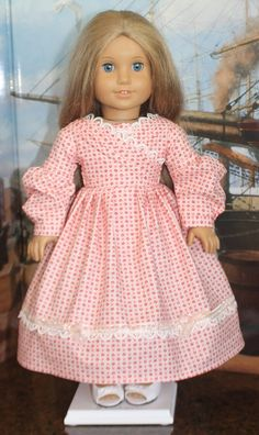 """American Girl """"Sarah Hale"""" Dress in Pink and Red Floral"""