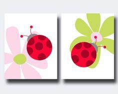 Lady Bug Nursery Wall Print, Baby Girl Pink, Red and Lady Bug and Flower Wall Print, Girls Bedroom Decor- N177, N178 - Custom Colour on Etsy, $22.02