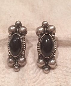 Vintage Sterling And Onyx Mexican Earrings