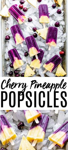 homemade popsicles healthy Cherry and pineapple are a match made in heaven especially when paired together in these Cherry Pineapple Popsicles. An icy summer treat thats per Homemade Popsicles Healthy, Healthy Popsicle Recipes, Ice Pop Recipes, Homemade Ice, Ice Cream Recipes, Summer Recipes, Easy Recipes, Vegan Recipes, Pineapple Popsicles