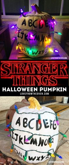 Stranger things, diy decor, home decor, Halloween, pumpkin, Christmas lights, decorate pumpkins, carving pumpkins, paint a pumpkin, white pumpkin, alphabet, home decor, outdoor decor, indoor decor, fall, autumn, indoor, outdoor #afflink