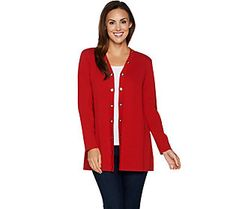Susan Graver Cotton Rayon Sweater Cardigan with Grommet Trim