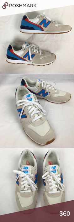 New Balance 696 sneakers New Balance 696 sneakers. Women's size 10/men's size 8. Seriously great condition. No wear on the bottoms at all. A few TINY marks here and there from storage (see pics). Red, blue and cream with white laces. New Balance Shoes Sneakers