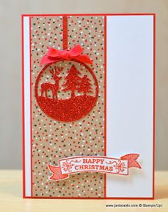 I created this using the Stampin' Up Merry Tags Framelit Dies, Seasonal Bells Stamp Set and Red Glimmer Paper.