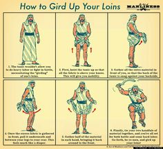 How to gird your loins. Attention all men in tunics! God, I love history. #fashion #clothes #etymology