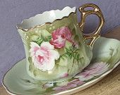 Antique Lefton green heritage tea cup and saucer, hand painted tea cup, pink roses tea cup, green tea cup, porcelain tea cup, antique tea