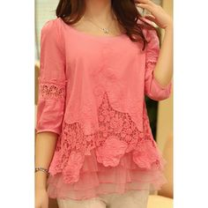 Stylish Scoop Neck 3/4 Sleeve Spliced Solid Color Women's Blouse, WATERMELON RED, 2XL in Blouses | DressLily.com
